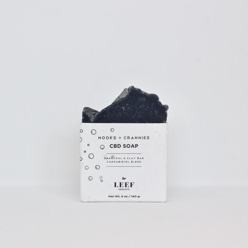 Leef Organics Nooks & Crannies Charcoal & Clay CBD Soap 140g