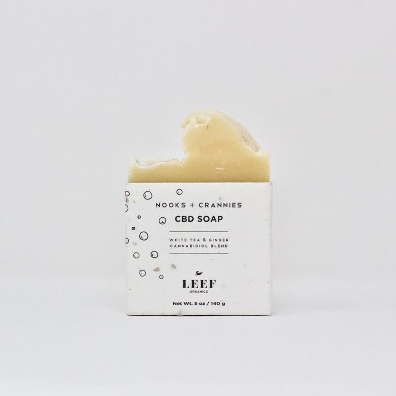 Leef Organics Nooks & Crannies White Tea & Ginger CBD Soap 140g
